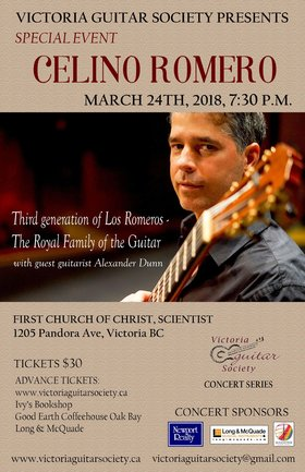 Celino Romero - Spanish Guitar: Celino Romero  (Spain, USA), Alexander Dunn @ First Church of Christ Scientist Mar 24 2018 - Dec 19th @ First Church of Christ Scientist