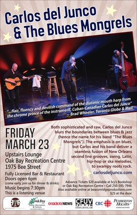 Award Winning Blues: Carlos Del Junco & The Blues Mongrels @ Upstairs Lounge - Oak Bay Recreation Centre Mar 23 2018 - Dec 19th @ Upstairs Lounge - Oak Bay Recreation Centre