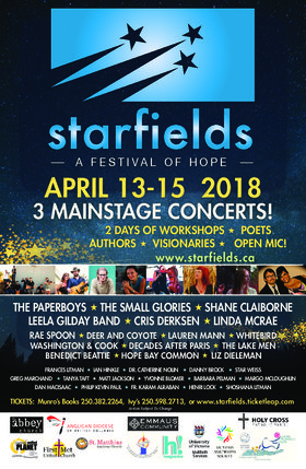 Starfields, a Festival of Hope: Leela Gilday Band, Cris Derksen, Hope Bay Common @ First Church of Christ Scientist Apr 13 2018 - Dec 19th @ First Church of Christ Scientist