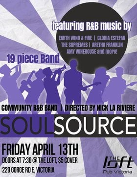 Soul Source: Soul Source  @ The Loft (Victoria) Apr 13 2018 - Dec 19th @ The Loft (Victoria)