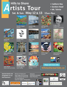 Hills to Shore Artists Studio Tour: Dorothy Haegert, Sandhu Singh, Judi MacLeod, Colette Baty, Sandy King, Jennifer Miller , Allan Castle, Marcela Strasdas, Helen Stewart, Janet Anderson, Jill Fitz Hirchbold, Peter N Van Giesen, Clare Atwell, Claudia Aguilera, Melanie Spencer, Sonia Lesage, Carol Sherwood  @ Different Artists May 12 2018 - Jan 15th @ Different Artists