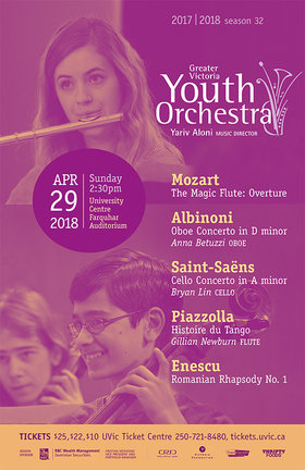 GVYO Presents: Enescu & Concertos: Greater Victoria Youth Orchestra , Yariv Aloni, Music Director @ The Farquhar at UVic Apr 29 2018 - Jan 20th @ The Farquhar at UVic