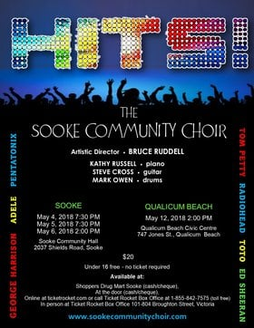 Hits! Sooke Community Choir @ Sooke Community Hall May 4 2018 - Dec 19th @ Sooke Community Hall