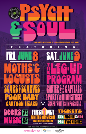 Vinyl Envy presents: Psych & Soul Weekend: Moths and Locusts, Scars and Scarves, Poor Baby , Cartoon Lizard @ First Metropolitan United Church Jun 8 2018 - Mar 23rd @ First Metropolitan United Church
