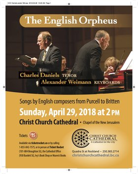 The English Orpheus: Charles Daniels, tenor, Alexander Weimann, harpsichord & piano @ Christ Church Cathedral Chapel of the New Jerusalem Apr 29 2018 - Dec 13th @ Christ Church Cathedral Chapel of the New Jerusalem