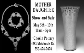 Mother Daughter Show: Morgan Saddington (jeweler), Judi Dyelle (ceramic artist) @ Chosin Pottery 4283 Metchosin Rd. May 5 2018 - Jan 15th @ Chosin Pottery 4283 Metchosin Rd.