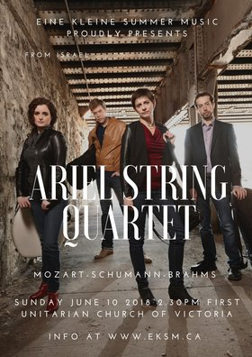 Eine Kleine Summer Music Festival Presents Ariel Quartet: Ariel Quartet @ First Unitarian Church of Victoria Jun 10 2018 - Mar 23rd @ First Unitarian Church of Victoria