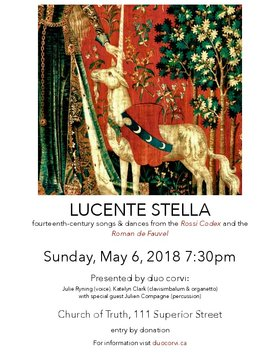 Lucente Stella: Fourteenth-Century Music for Voice, Organetto, and Percussion @ Church Of Truth May 6 2018 - Jan 18th @ Church Of Truth