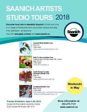 Saanich Artists Studio Tours: Saanich West Studio Tour  (May 5-6), Hills to Shore Artists Tour (May 12-13, Garth Homer Society Artworks Tour  (May 19), Scattered Artists Tour  (May 19-20) @ Saanich May 5 2018 - Jan 15th @ Saanich