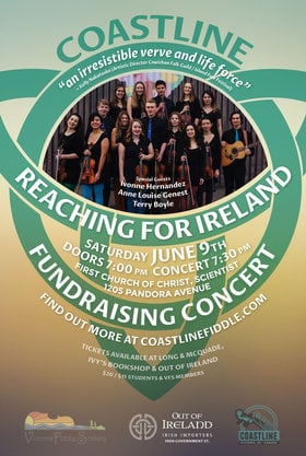 "Coastline ""Reaching for Ireland"" Fundraising Concert: Coastline, Ivonne Hernandez, Anne Louise Genest, Terry Boyle @ First Church of Christ Scientist Jun 9 2018 - Feb 19th @ First Church of Christ Scientist"