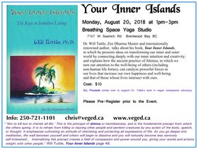 Your Inner Islands: Keys to Intuitive Living: Dr. Will Tuttle PhD  (world-renowned author, inspirational lifestyle educator, musician), Madeleine Tuttle  (artist) @ Breathing Space Yoga Studio, 7167 W Saanich Rd, Brentwood Bay BC Aug 20 2018 - Feb 22nd @ Breathing Space Yoga Studio, 7167 W Saanich Rd, Brentwood Bay BC