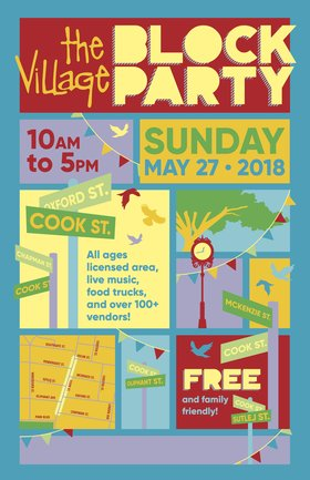 The Village Block Party: The Electric Timber Company , LOVECoast @ Cook Street Village May 27 2018 - Feb 19th @ Cook Street Village