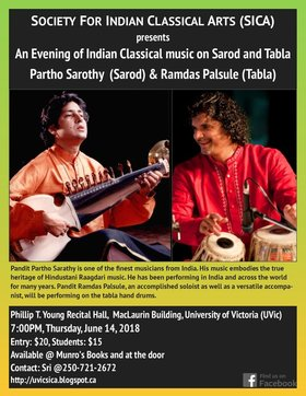 An Evening of Indian Classical Music on Sarod and Tabla: Partho Sarothy, Ramdas Palsule @ Phillip T. Young Recital Hall (Uvic) Jun 14 2018 - Mar 23rd @ Phillip T. Young Recital Hall (Uvic)