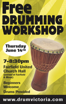 FREE DRUMMING WORKSHOP @ Fairfield United Church Jun 14 2018 - Mar 23rd @ Fairfield United Church