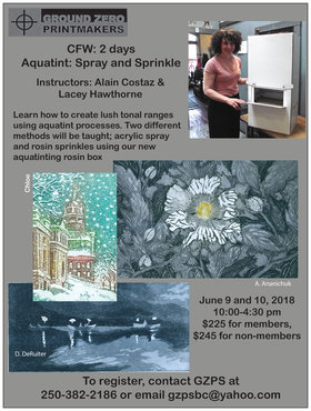 Aquatint Workshop: Spray and Sprinkle @ Ground Zero Printmakers Studio GZPS Jun 9 2018 - Mar 25th @ Ground Zero Printmakers Studio GZPS