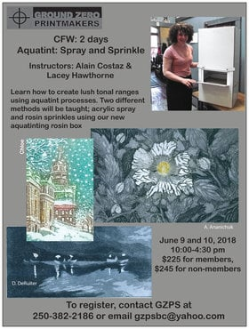Aquatint Workshop: Spray and Sprinkle @ Ground Zero Printmakers Studio GZPS Jun 9 2018 - Feb 19th @ Ground Zero Printmakers Studio GZPS