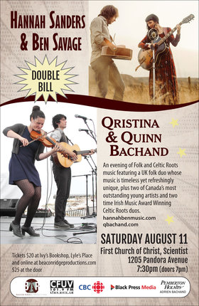 DOUBLE BILL!  Celtic Roots, Folk & Americana: Qristina & Quinn Bachand, Hannah Sanders & Ben Savage @ First Church of Christ Scientist Aug 11 2018 - Feb 19th @ First Church of Christ Scientist