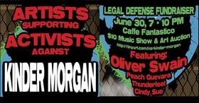 Artists Supporting Activists Against Kinder Morgan: Oliver Swain, Peach Guevara, Cindy Sue, Thunderfeet @ Caffe Fanastico, 965 Kings Rd, Victoria, BC V8T 1W7 Jun 30 2018 - Dec 9th @ Caffe Fanastico, 965 Kings Rd, Victoria, BC V8T 1W7