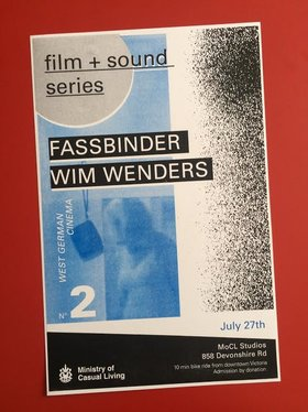 FILM + SOUND Series No. 2 : West German Cinema @ The Ministry of Casual Living Jul 27 2018 - Feb 22nd @ The Ministry of Casual Living