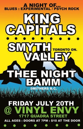 Rock Triple-Header: Smyth Valley, Thee Night Bamm, King Capitals @ Vinyl Envy Jul 20 2018 - Dec 15th @ Vinyl Envy