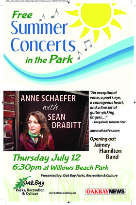 Summer Concerts in the Park: Anne Schaefer: Anne Schaefer, Sean Drabitt @ Willows Beach Park Jul 12 2018 - Feb 16th @ Willows Beach Park