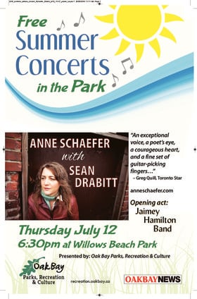 Summer Concerts in the Park: Anne Schaefer: Anne Schaefer, Sean Drabitt @ Willows Beach Park Jul 12 2018 - Dec 15th @ Willows Beach Park