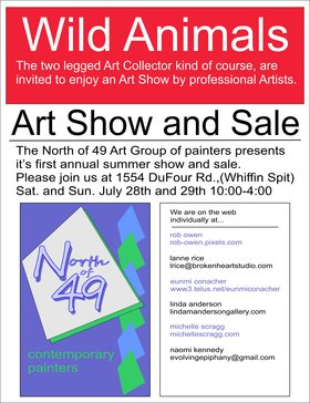 North of 49 Contemporary Painters, Art Show and Sale: Rob Owen  (rob-owen.pixels.com), Lanne Rice  (BrokenHeartStudio.com), Eunmi Conacher  (www3.telus.net/eunmiconacher), Linda Anderson (lindaandersongallery.com), Michelle Scragg  (michellescragg.com), Naomi Kennedy @ 1554 DuFour Road Jul 28 2018 - Feb 19th @ 1554 DuFour Road