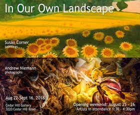 In Our Own Landscape: Andrew Niemann, Susan Corner @ Cedar Hill Main Gallery, 3220 Cedar Hill Road Aug 22 2018 - Feb 22nd @ Cedar Hill Main Gallery, 3220 Cedar Hill Road