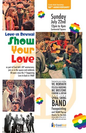 "Love In Revival-""Show Your Love"": Vic Horvath, Felicia Harding, Nic Bristowe, Corrine & Bryan, Spiral Swing Band @ Victoria's Spirit Square (in Centennial Square) Jul 22 2018 - Jan 22nd @ Victoria's Spirit Square (in Centennial Square)"