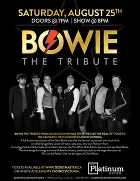Bowie - The Tribute @ Elements Casino - Victoria Aug 25 2018 - Dec 13th @ Elements Casino - Victoria