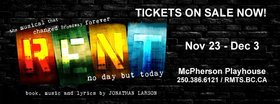 VOS Presents RENT! @ McPherson Playhouse Nov 23 2018 - Apr 19th @ McPherson Playhouse