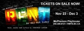 VOS Presents RENT! @ McPherson Playhouse Nov 23 2018 - Mar 24th @ McPherson Playhouse