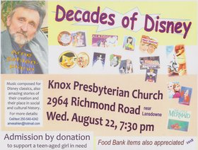 Decades of DISNEY! Music, song sheets, amazing stories: Arne Sahlen, pianist @ Knox Presbyterian Church Aug 22 2018 - Feb 22nd @ Knox Presbyterian Church