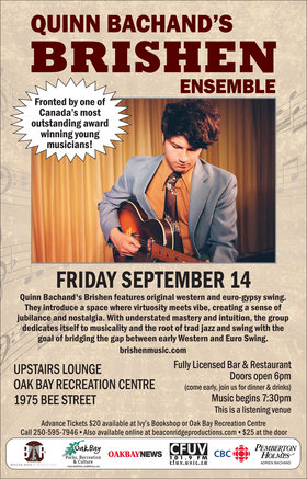 Gypsy Jazz and Swing!: Quinn Bachand's Brishen @ Upstairs Lounge @ Recreation Oak Bay Sep 14 2018 - Feb 19th @ Upstairs Lounge @ Recreation Oak Bay