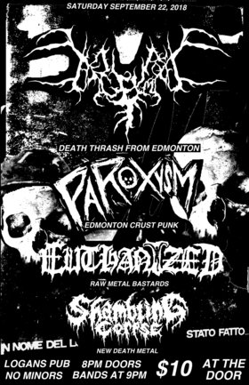Welcome to hell....: begrime exemious, Paroxsym, EUTHANIZED, Shambling Corpse @ Logan's Pub Sep 22 2018 - Dec 14th @ Logan's Pub
