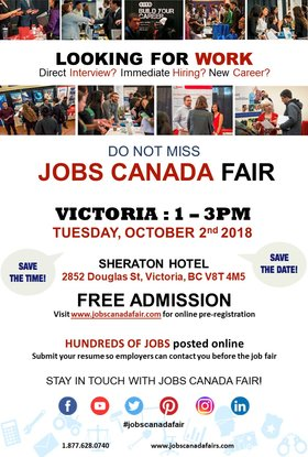 FREE: Victoria Job Fair – October 2nd, 2018 @ Four Points by Sheraton Victoria Oct 2 2018 - Dec 12th @ Four Points by Sheraton Victoria