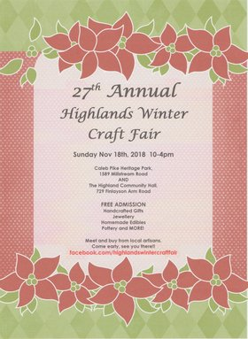 Highlands Winter Craft Fair @ Caleb Pike House Nov 18 2018 - Jan 16th @ Caleb Pike House