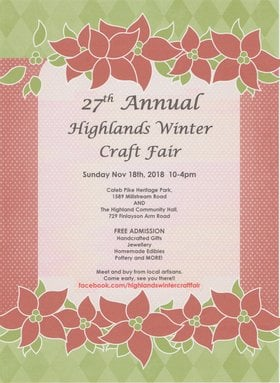 Highlands Winter Craft Fair @ Caleb Pike House Nov 18 2018 - Mar 24th @ Caleb Pike House