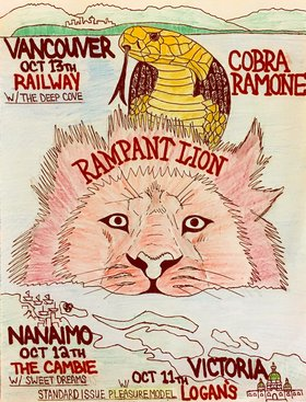 Rampant Lion, Cobra Ramone, standard issue pleasure model @ Logan's Pub Oct 11 2018 - Dec 14th @ Logan's Pub