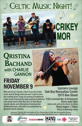Celtic Music Night!: Qristina & Quinn Bachand, Crikeymor @ Upstairs Lounge - Oak Bay Recreation Centre Nov 9 2018 - Jan 16th @ Upstairs Lounge - Oak Bay Recreation Centre