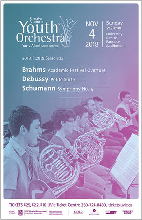 The Greater Victoria Youth Orchestra Presents Schumann Symphony No. 4: Greater Victoria Youth Orchestra , Yariv Aloni, Music Director @ The Farquhar at UVic Nov 4 2018 - Feb 16th @ The Farquhar at UVic