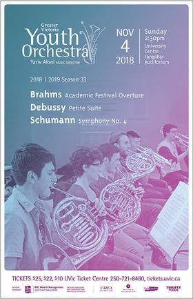 The Greater Victoria Youth Orchestra Presents Schumann Symphony No. 4: Greater Victoria Youth Orchestra , Yariv Aloni, Music Director @ The Farquhar at UVic Nov 4 2018 - Dec 13th @ The Farquhar at UVic