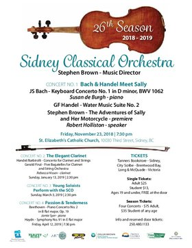 Bach & Handel Meet Sally: Sidney Classical Orchestra, Susan de Burgh - piano, Stephen Brown - conductor, Robert Holliston - speaker @ St Elizabeth