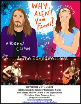 International Songwriter Night: Katrina Kadoski, ellen cherry, The Edge Dwellers, Andrew Grimm, Graham Mckenzie , Peter Wahl @ Westshore Music Academy -  Nov 24 2018 - Apr 19th @ Westshore Music Academy -