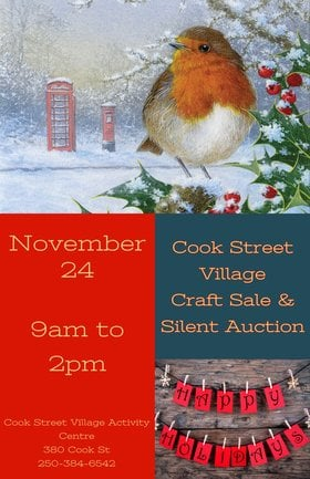 Village Craft Sale and Silver Bells Silent Auction @ Cook Street Village Activity Centre Nov 24 2018 - Mar 24th @ Cook Street Village Activity Centre