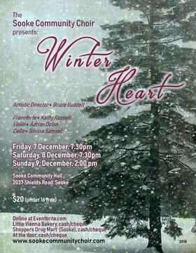 WINTER HEART CONCERT SERIES: The Sooke Community Choir @ Sooke Community Hall Dec 8 2018 - Dec 11th @ Sooke Community Hall