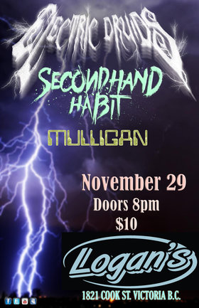 Bludgeonfest: Electric Druids, Secondhand Habit, Mulligan @ Logan's Pub Nov 29 2018 - Dec 14th @ Logan's Pub