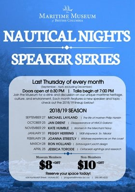 Nautical Nights: Women In the Merchant Navy: Kate Humble @ Maritime Museum of BC Nov 29 2018 - Mar 24th @ Maritime Museum of BC