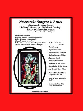 Newcombe Singers (and Brass), Brad Howland, Alana Despins, Merrie Klazek, Ben Parker,  Robert Dukarm, Robert Fraser @ St. Mary's Anglican Church Dec 16 2018 - Jul 23rd @ St. Mary's Anglican Church