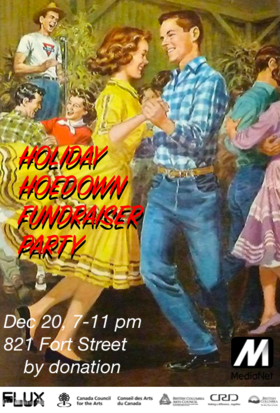 Holiday Hoedown fundraising Party: Slim Sandy and the Hillbilly Boppers @ FLUX MEDIA GALLERY Dec 20 2018 - Mar 21st @ FLUX MEDIA GALLERY